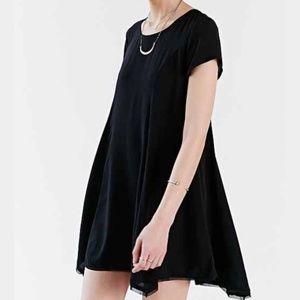 EUC Silence and Noise Raw Hem Black Dress sz L